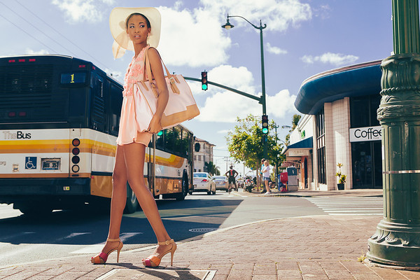Street and bus fashion photography by Dallas Nagata White