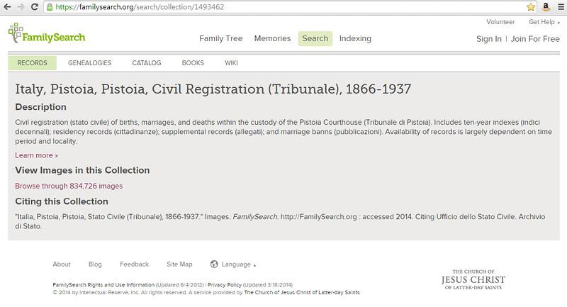 Italy, Pistoia, Pistoia, Civil Registration (Tribunale), 1866-1937, from FamilySearch.org