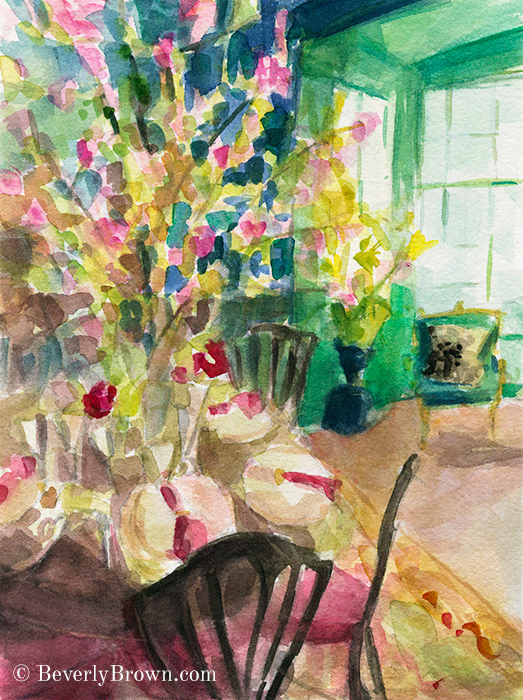 Watercolor Impressionist Green Interior with Cherry Blossoms Art Print - Beverly Brown Artist - www.beverlybrown.com