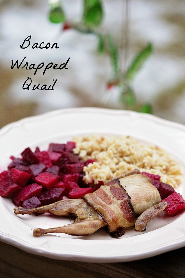 Everything is better wrapped in bacon, right? Think quail is a hard #recipe to master? Not so! This recipe is easy and perfect for guests #MyNutrishPeak #ad