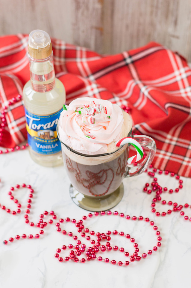 This Guilt-Free Vanilla Peppermint Coffee #Recipe is just what you need for the holidays! It uses #Torani Sugar-Free Vanilla from Walmart #AGuiltFreeHoliday @ToraniFlavor