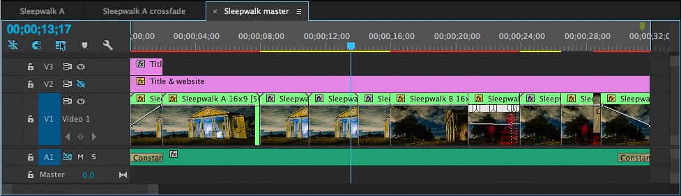 Creating the master time lapse sequence in Premiere Pro