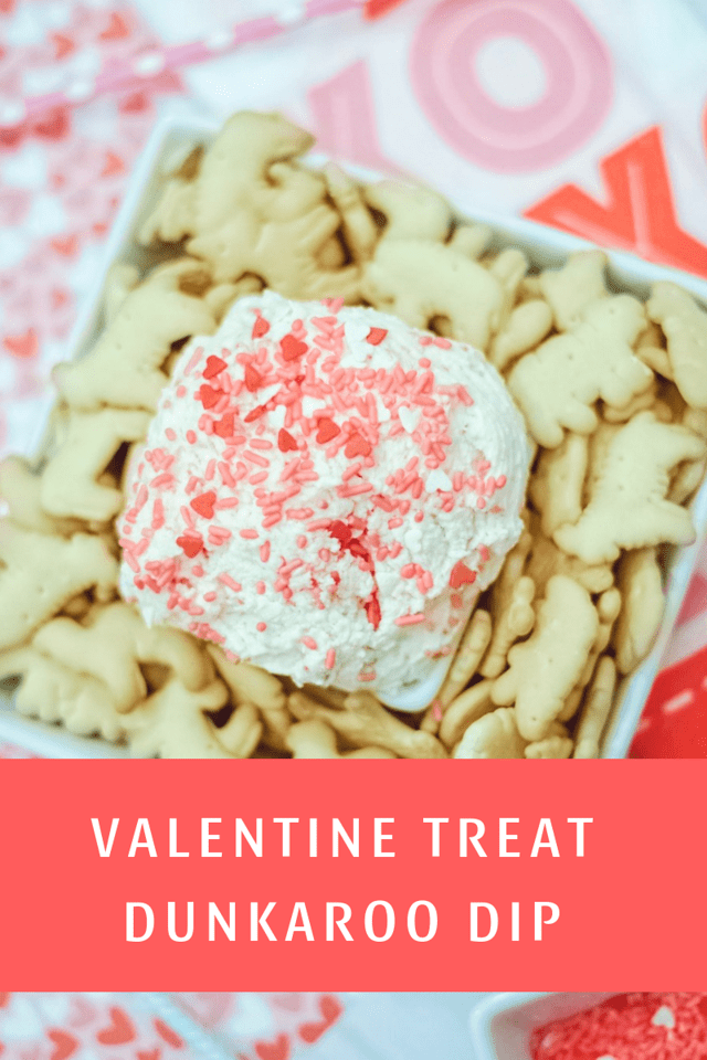 This is the most perfect last minute Valentine's Day treat for families, classrooms, and parties. It's Valentine Treat Dunkaroo Dip and littles love to help