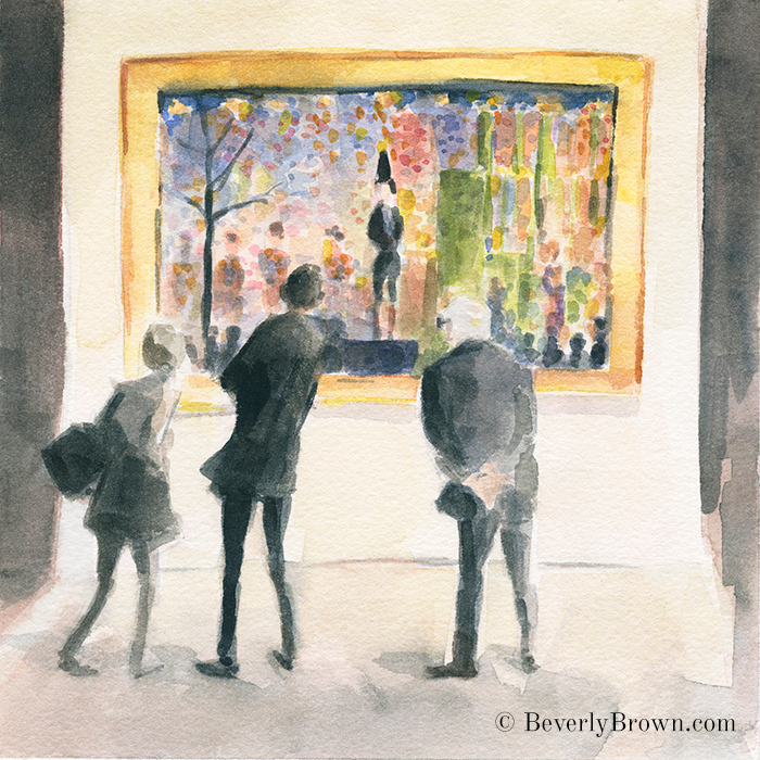 Georges Seurat Circus Sideshow - Watercolor sketch by Beverly Brown - www.beverlybrown.com