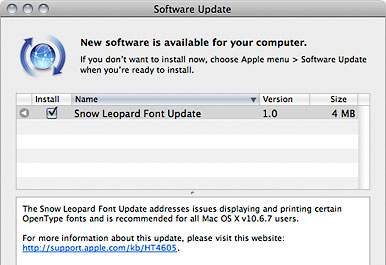 Snow Leopard Font Update in Software Update