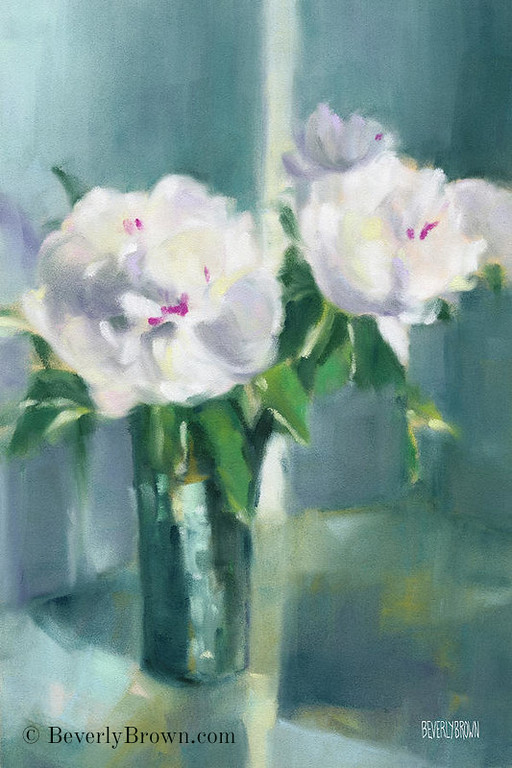 White Peony Art Print from an original pastel floral painting in shades of white, grey, lavender, teal and green by Beverly Brown. Framed prints and canvas wall art for sale at www.beverlybrown.com