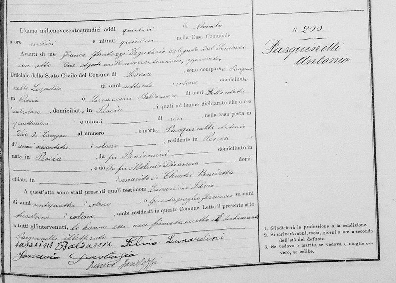 Death Act of Antonio Pasquinelli, 1915, from FamilySearch.org