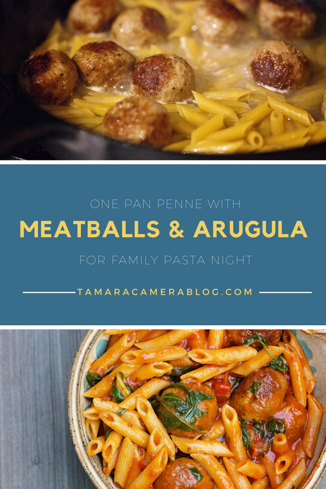 This quick and delicious one pan penne pasta  with meatballs and arugulua only uses 5 ingredients and is so delicious, your family will love it! #ad #recipe