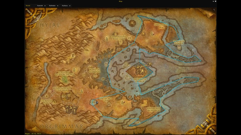 Best Route for Fishing in Azshara in World of Warcraft