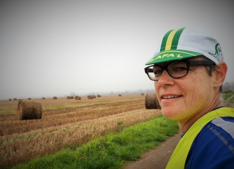 Breaking in my new French Aussie cap and admiring the farmers' work.