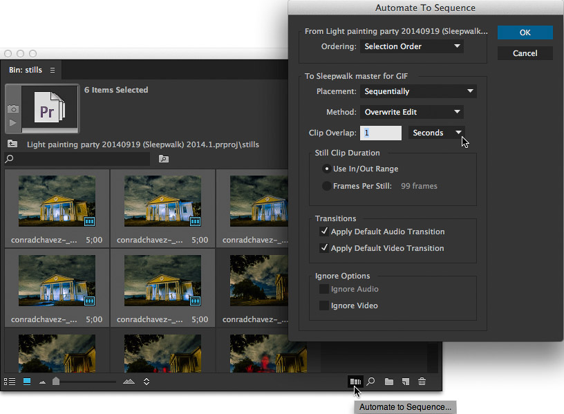 Creating a sequence from still images using Automate to Sequence in Premiere Pro
