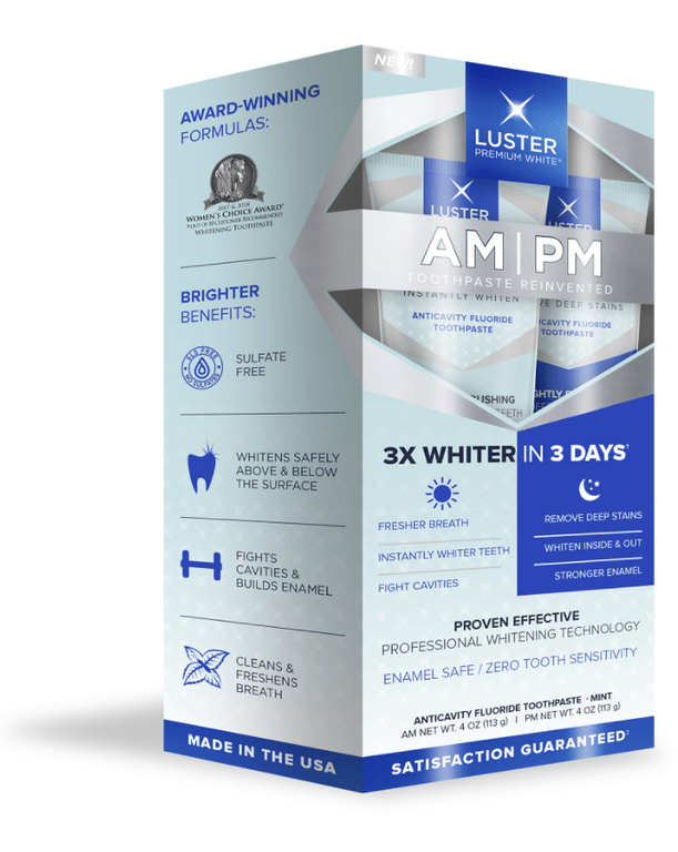 Luster Premium White® has introduced a new AM/PM Whitening Toothpaste System. The kit includes one toothpaste for an instant brightening boost in morning and another stain-fighting formula for nighttime use. Together, they offer a comprehensive dental hygiene solution for your brightest, healthiest smile.
