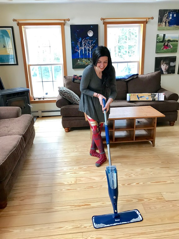 So wonderful together! Find out why the Bona Hardwood Floor Mop and the Bona Hardwood Floor Cleaning solution are the perfect match together! And 5 ways to care for hardwood floors. #ad