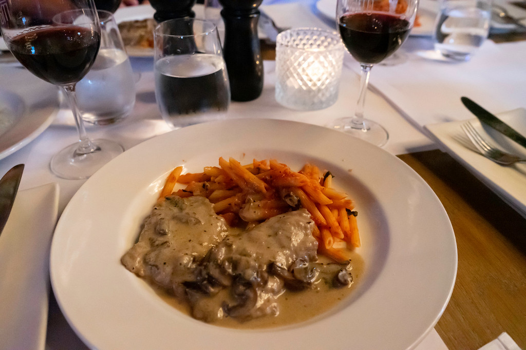 Evening Gourmet Tour: Veal cutlets and Penne Arribiata at Matto 71.