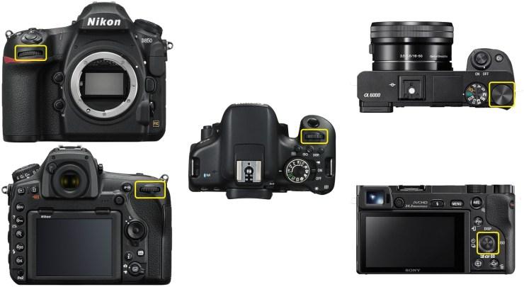 Nikon D850 (two wheels) / Canon 750D (one wheel) / Sony a6000 (two wheels)