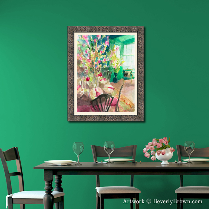 Impressionist Watercolor Green Interior with Cherry Blossoms Framed Print - Art for the Dining Room - Beverly Brown Artist - www.beverlybrown.com