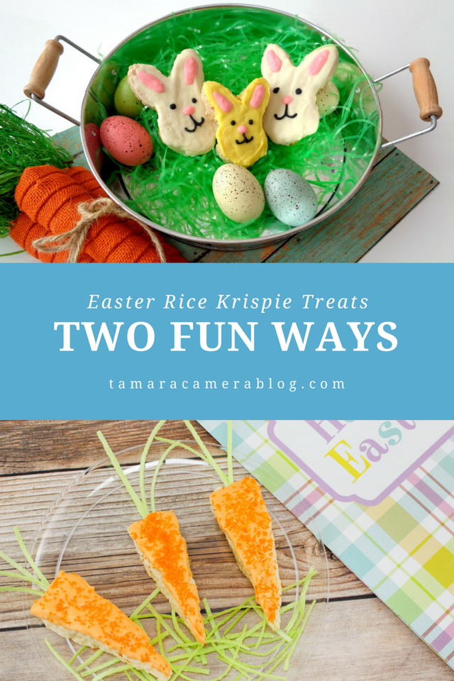 Looking for a sweet treat for #Easter? Here are Easter Rice Krispie Treats, 2 WAYS! Whether it's bunnies or carrots, or both, I have you covered! Celebrate!