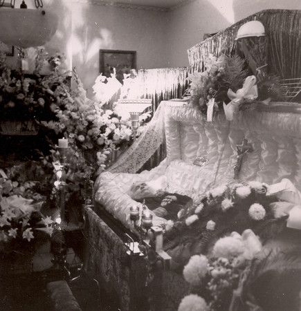 Great-grandmother's funeral, in the parlor, 1941