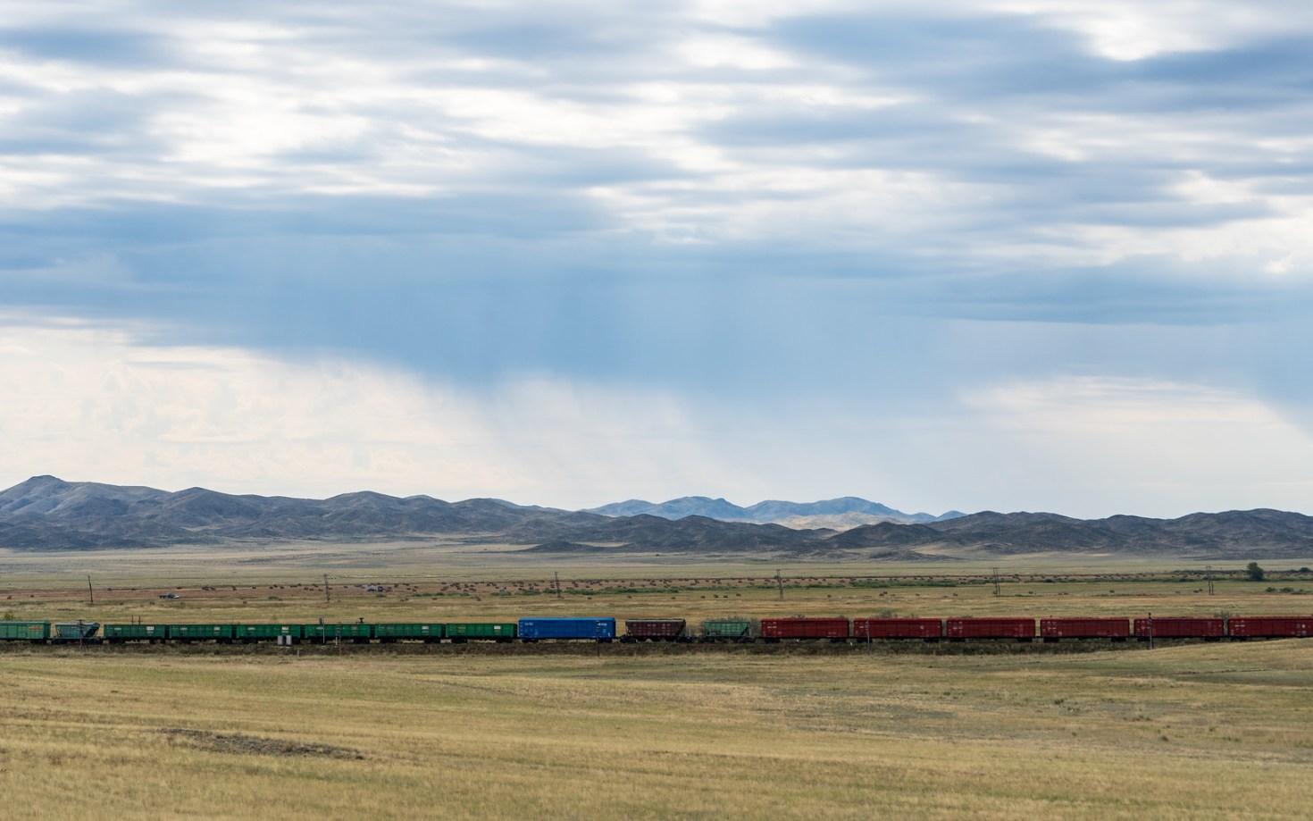 Train through the Kazakh steppe