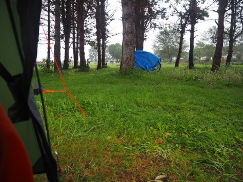 Rainy view from a tent door.