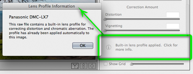 Metadata (built-in) lens profile in Adobe Camera Raw 8.4