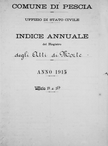 Annual Index of Death Acts, Comune di Pescia, 1915, from FamilySearch.org.