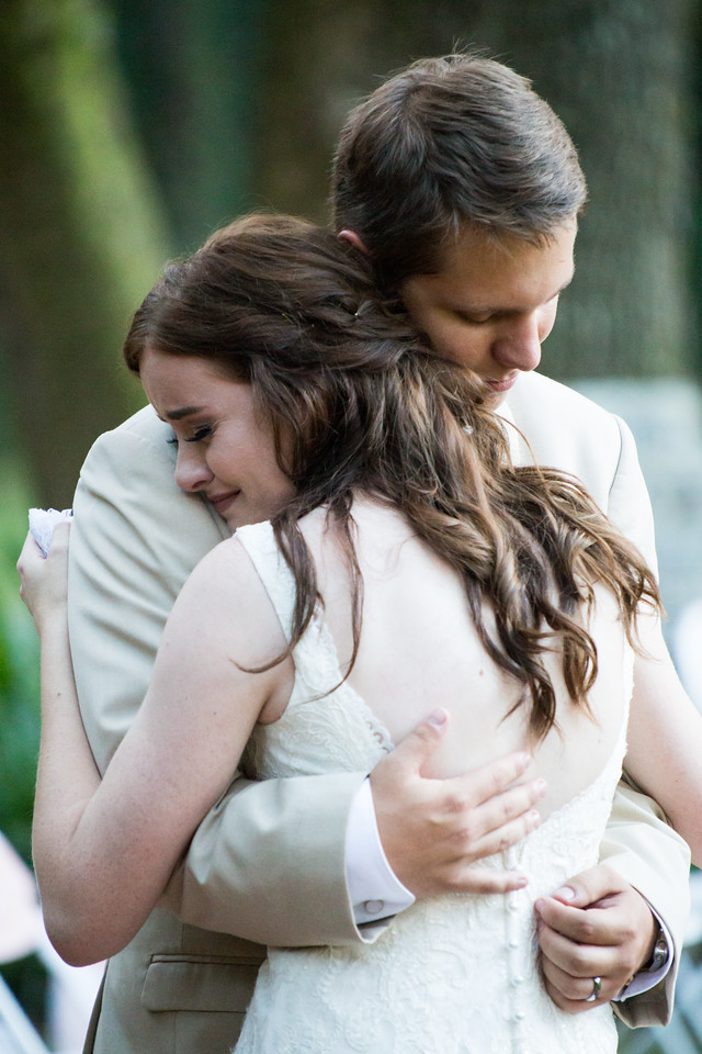 Photographed in September.  The bride and groom's first dance is sometimes very emotional