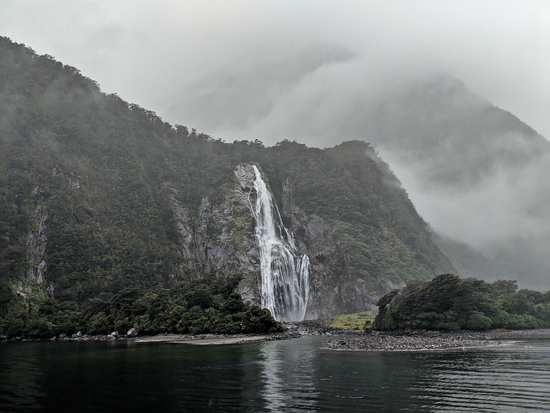 8 Day New Zealand Road Trip - Milford Sound waterfall