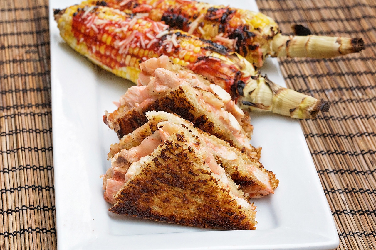 Habanero Chicken Grilled Cheese & Spicy Grilled Corn