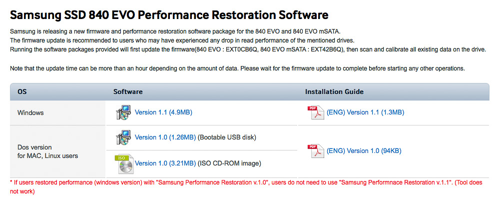 Samsung 840 EVO Performance Restoration Software on Samsung SSD downloads page