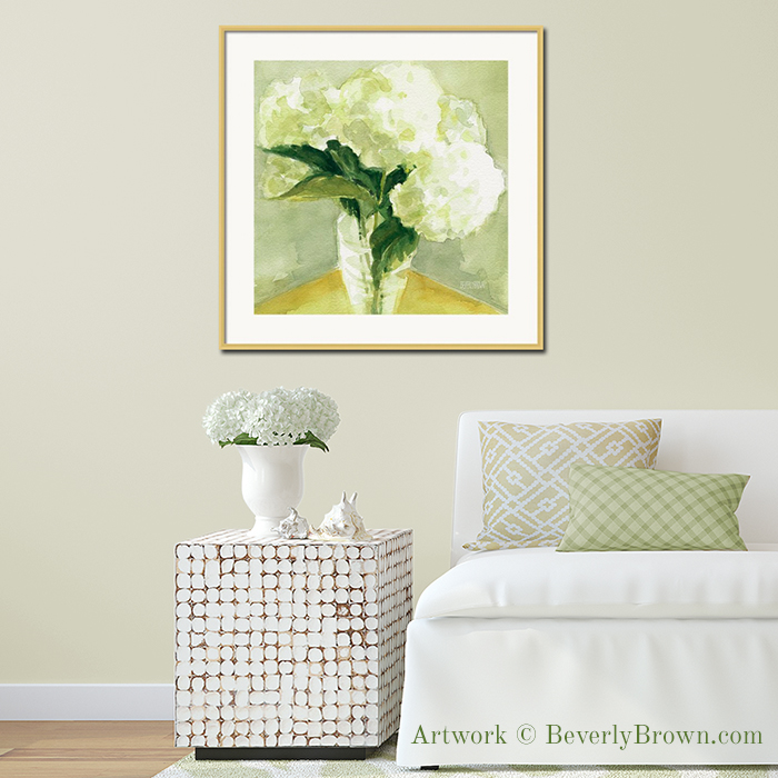 White Hydrangea Print in Picture Frame - floral watercolor by Beverly Brown - www.beverlybrown.com