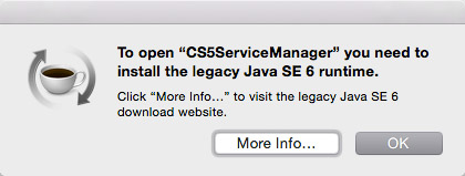Install legacy Java SE 6 runtime