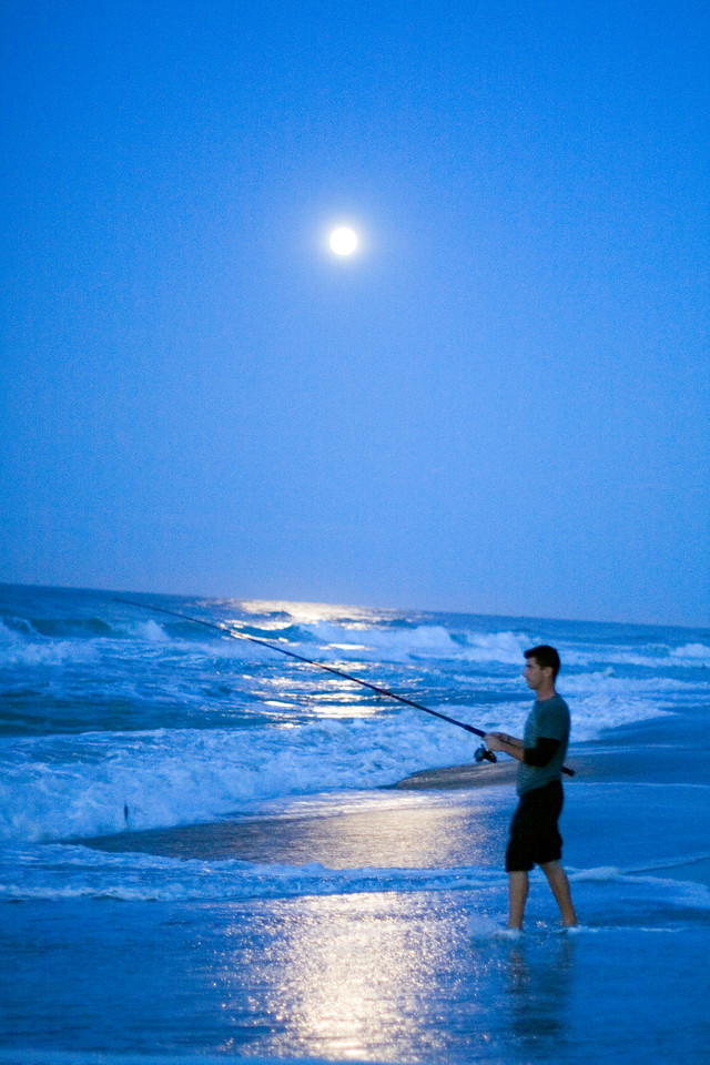 Look Nook Beach night fishing Cape Cod moonrise