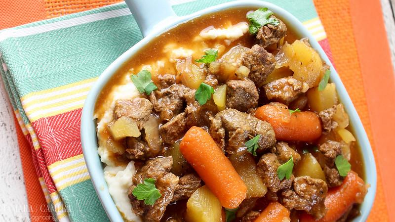 easy beef stew over potatoes