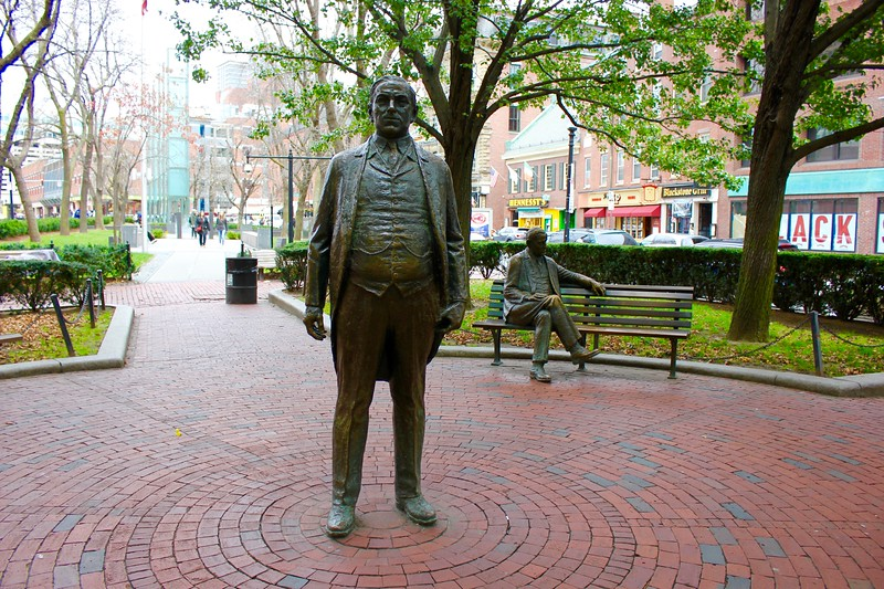a statue of former Boston Mayor James Michael Curley