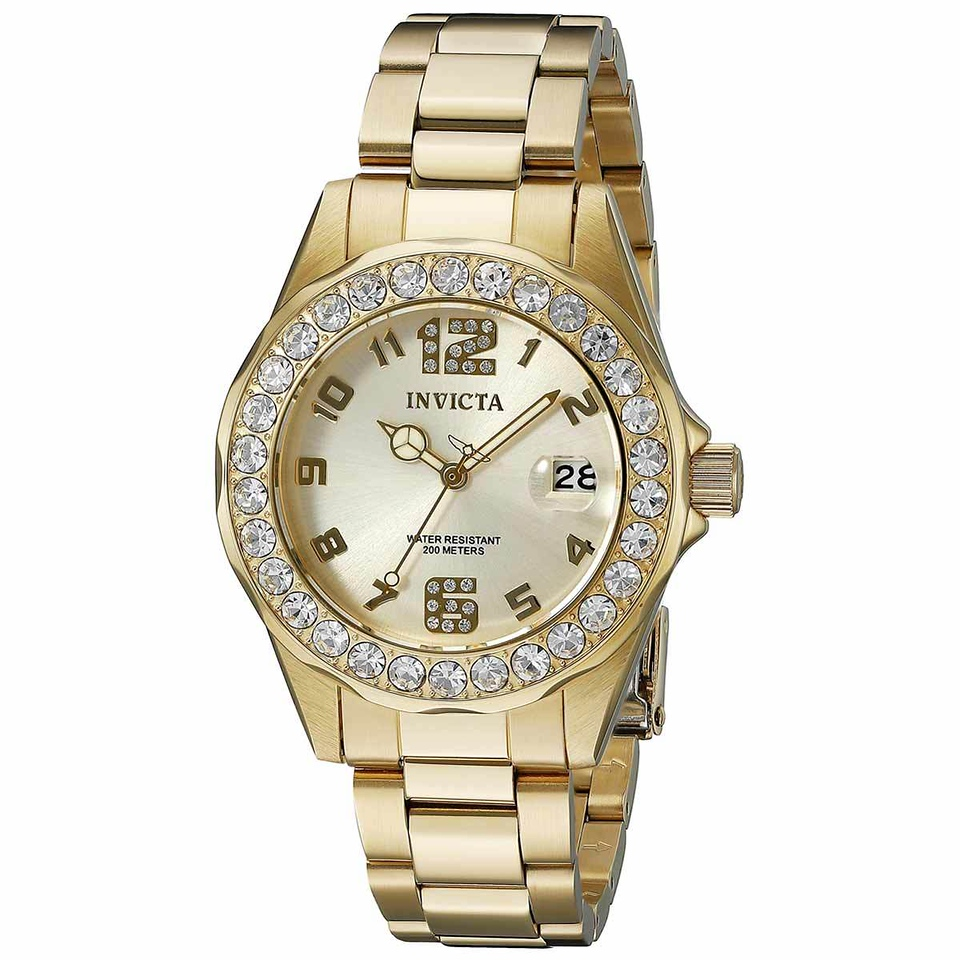 Invicta Women's Pro Diver Crystal Accented Bezel Gold Dial Yellow