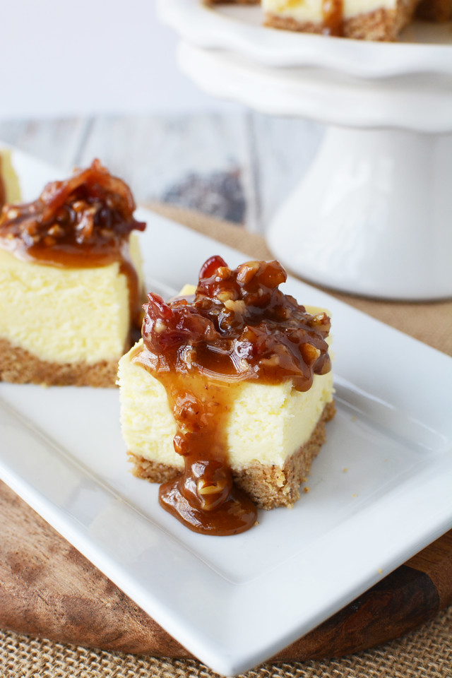 Caramelized Bacon Topped Cheesecake Bites are delicious and so easy to make. Use our holiday hack to turn a Sara Lee Cheesecake into a party appetizer! #ad