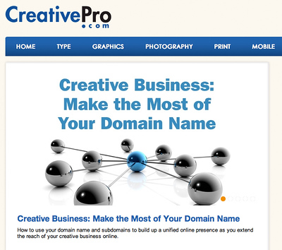 CreativePro article-Creative Business:: Make the Most of Your Domain Name