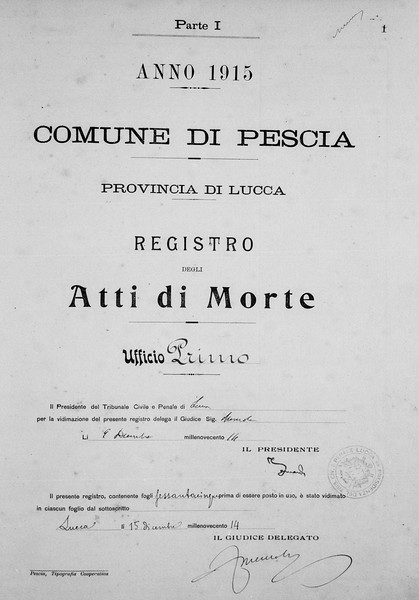 Atti di Morte, Comune di Pescia, 1915, from FamilySearch.org