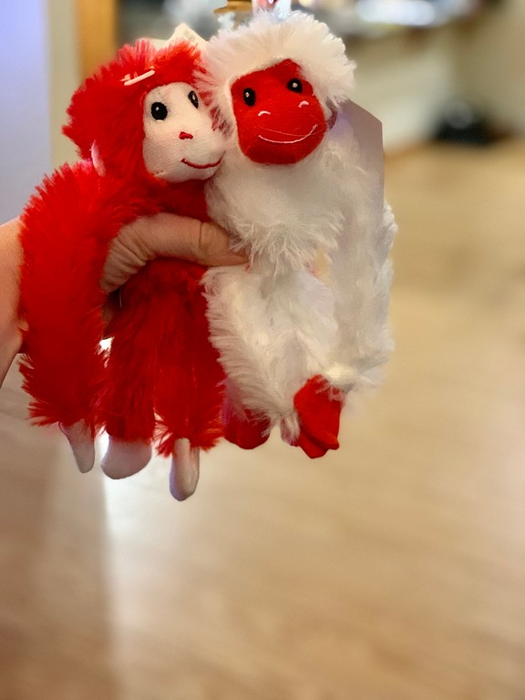 It all started with monkeys, and ended with sloths. Doesn't it always? This post is about stuffed monkeys, one big stuffed sloth, and squishy heart feelings