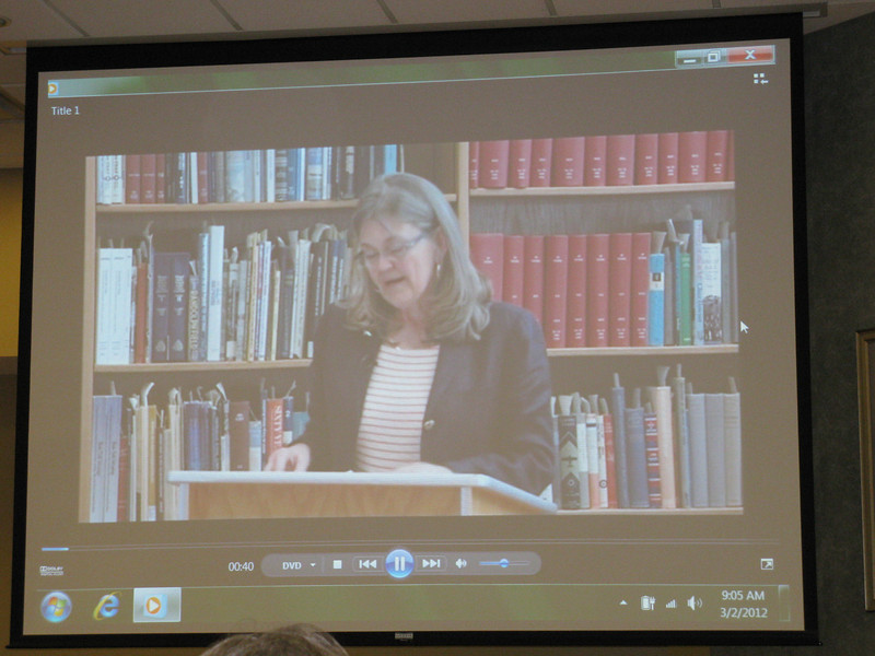Amanda Wright Lane giving her talk to us via video