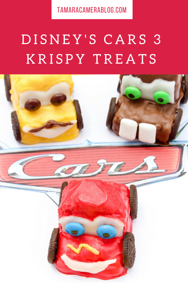 Are you a Cars loving family like us? Have fun making these Cars 3 Krispy Treats and have your kids help w/ Lightning McQueen, Luigi & Mater #recipe #family