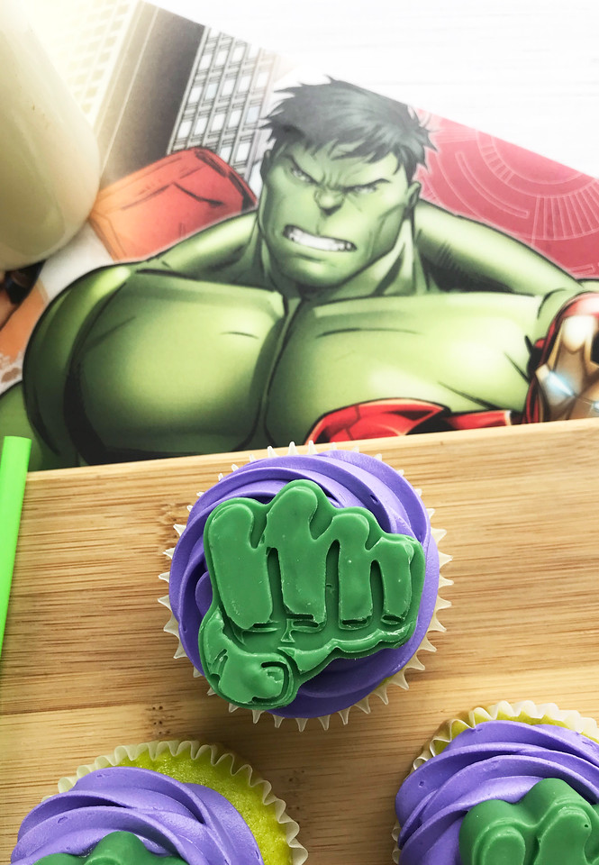 If your little one is a fan of MARVEL superheroes like mine both are, then they are going to love these Hulk Smash Cupcakes. They are made to look like Hulk's fist and they are delicious too! #recipes #superheroes