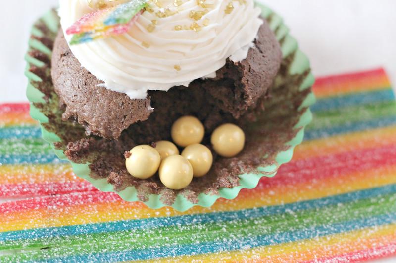 Pot of Gold Rainbow Cupcakes