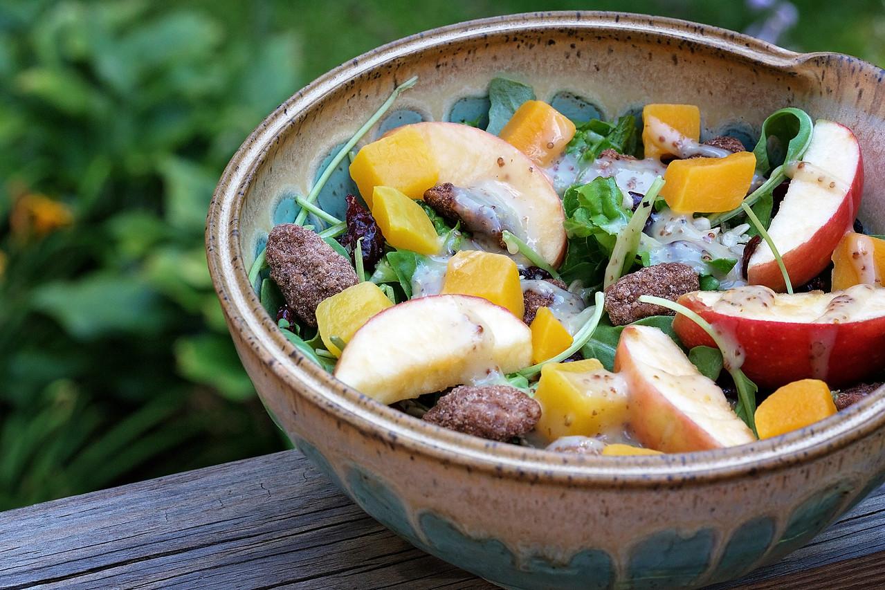 Fall Harvest Salad With Spiced Pecans & Maple Cider Vinaigrette