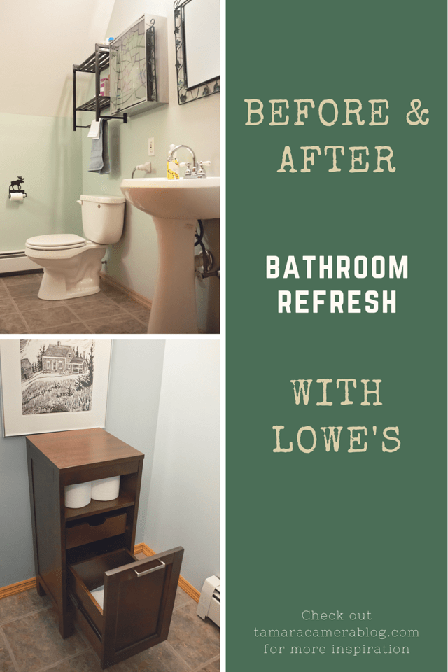 Lowe's is a GREAT place to buy bath products on a budget. Check out our small bathroom storage update and the products we scored at Lowe's AD #BathOnaBudget
