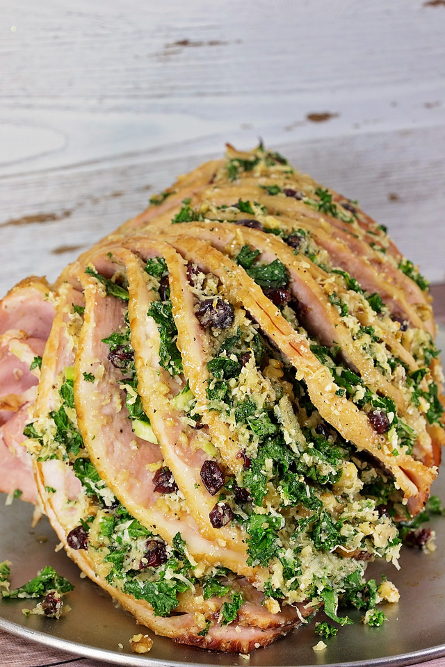 This spiral ham recipe with a kale, craisins, walnuts, double cheese