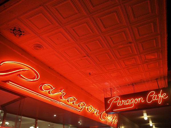 Red neon signs saying
