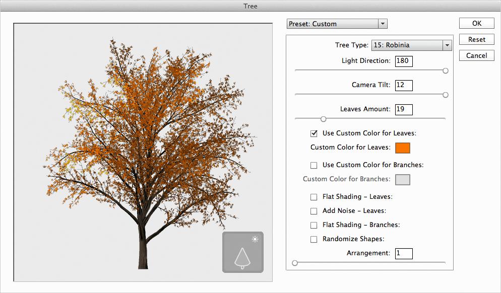 Scripted fill: Tree