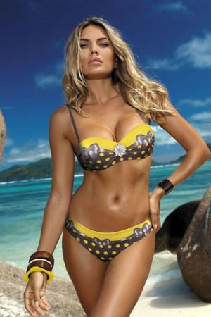 reducere Costum de baie cu slip brazilian galben cu imprimeuri cu buline, cel mai mic pret